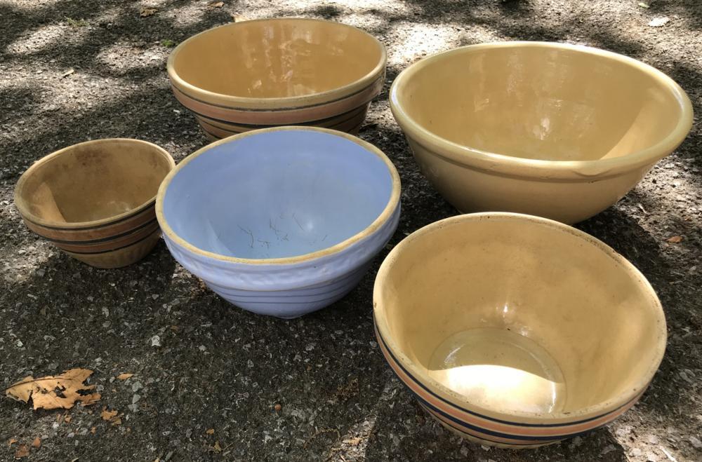 Group Lot of Antique Pottery Kitchen Dough Bowls