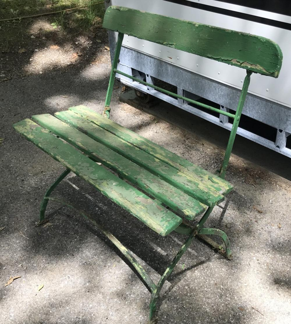 Antique Metal & Wood Shabby Chic Garden Bench