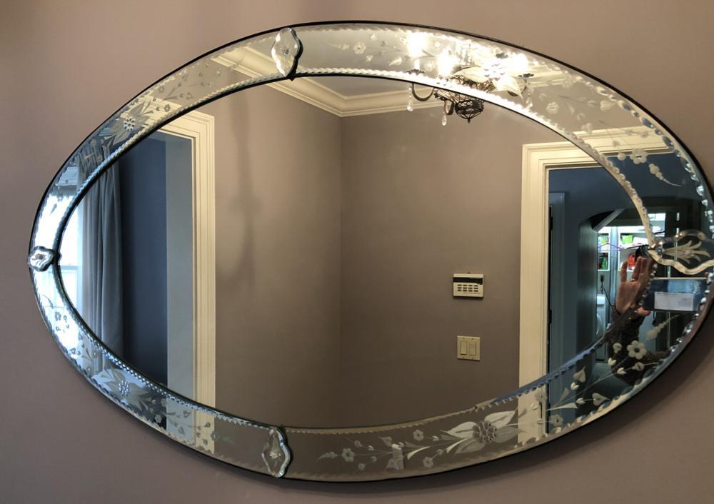 Venetian Glass Large Oval Mirror