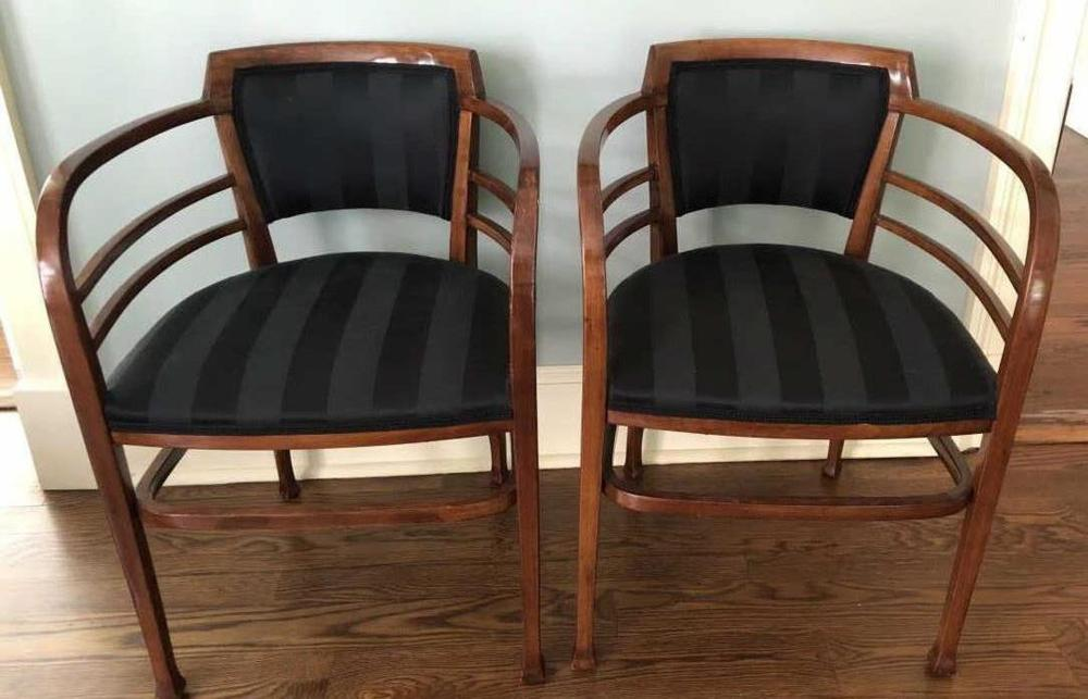 Pair Vienna Art Nouveau Bent Wood Arm Chairs