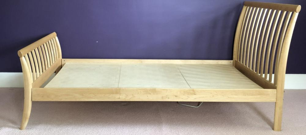 Mission Style Light Wood Twin Sleigh Bed