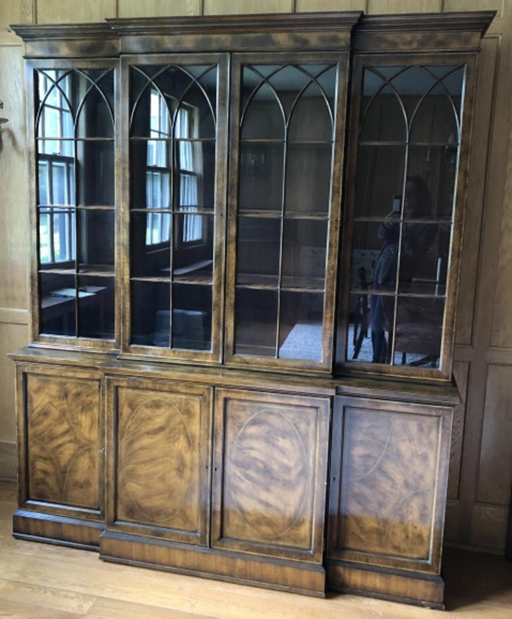 Adams Style Burled Wood Library or Dining Cabinet