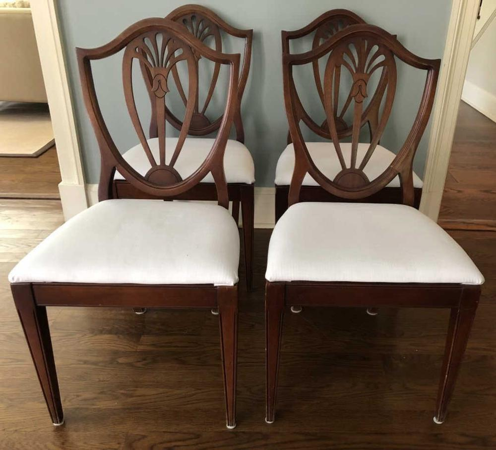 4 Hepplewhite Style Shield Back Dining Chairs