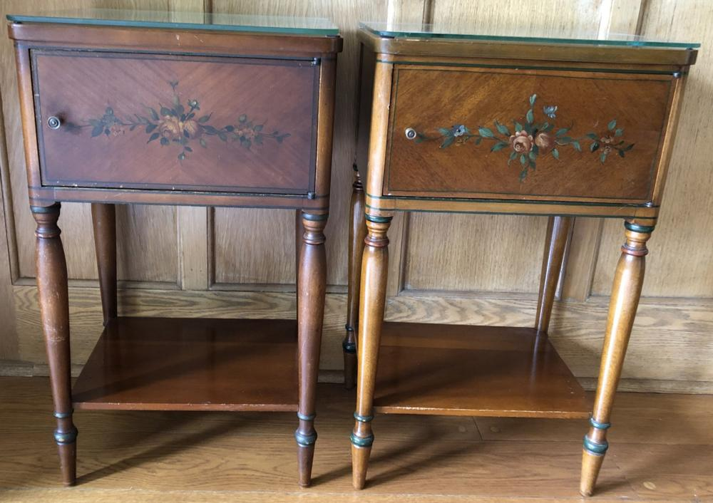 Pair Hand Painted Vintage Night Stands
