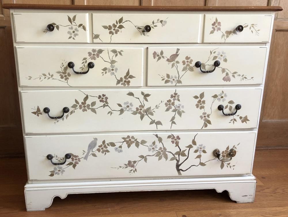 Vintage Ethan Allen Hand Stenciled Dresser