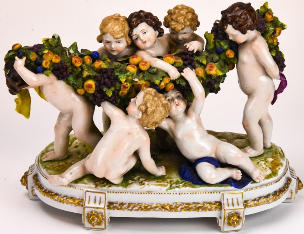 Capodimonte Style Porcelain Putti Centerpiece