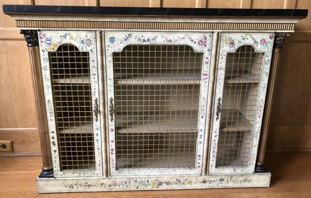 Chelsea House Metal Mesh Front Painted Console