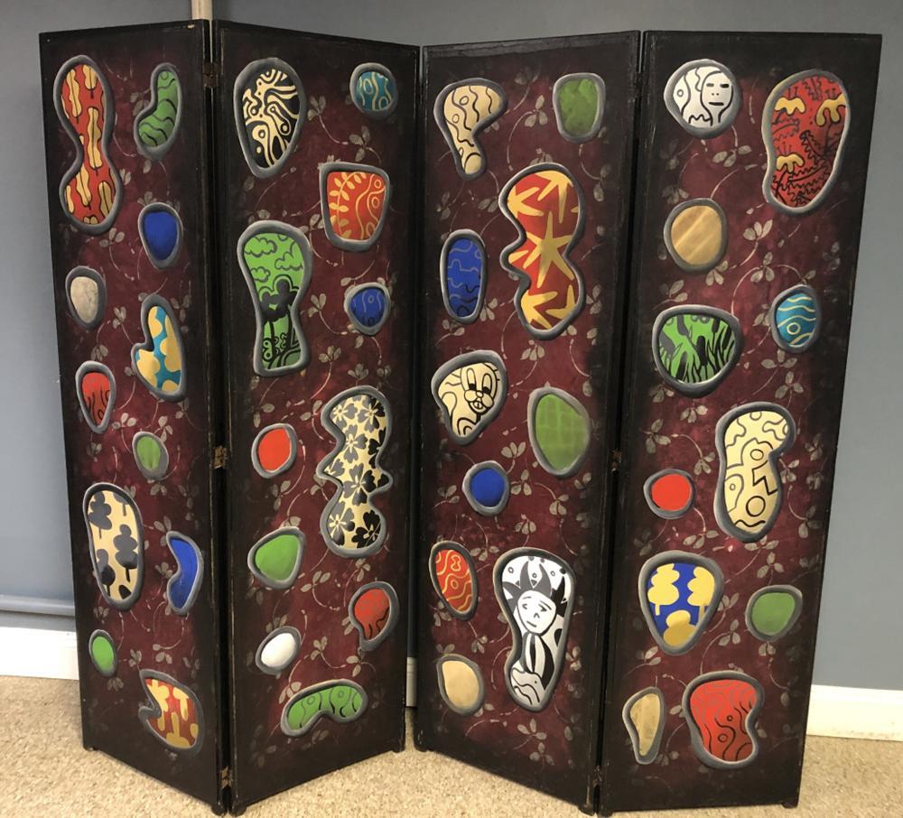 James Hansen Oil on Wood 4 Panel Painted Screen