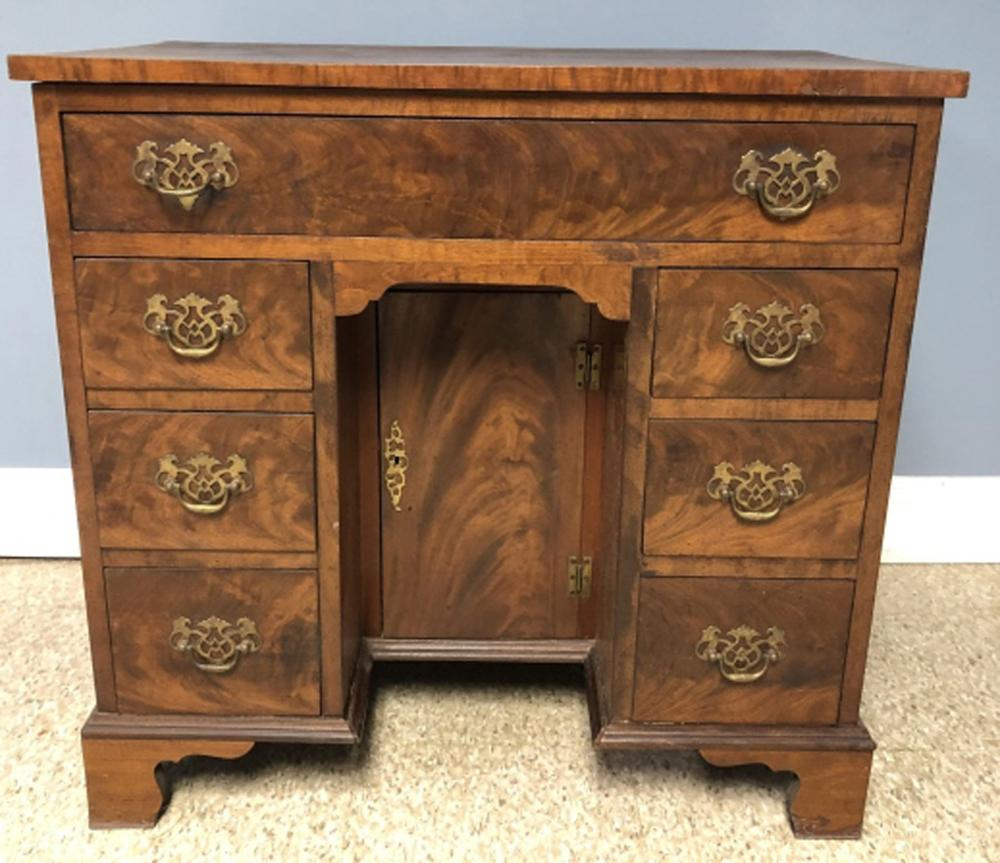 Antique English Knee Hole Burled Small Desk