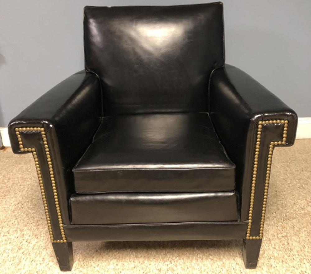Mid Century Faux Leather Nail Head Trim Club Chair