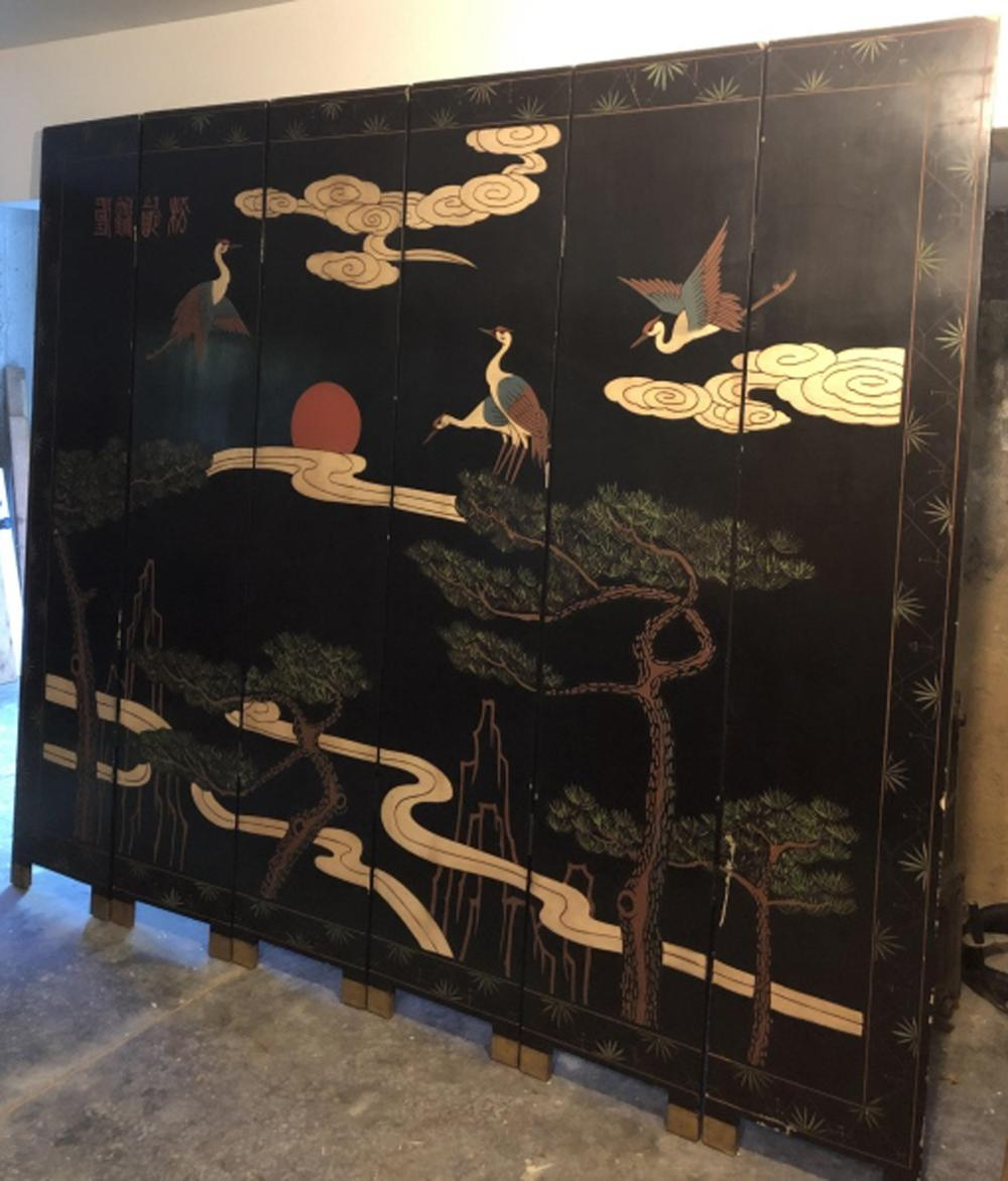 2 Sided 7 Foot  Asian Hand Carved + Painted Screen