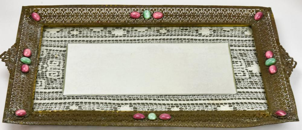 Large Mirrored Reticulated Brass Vanity Tray