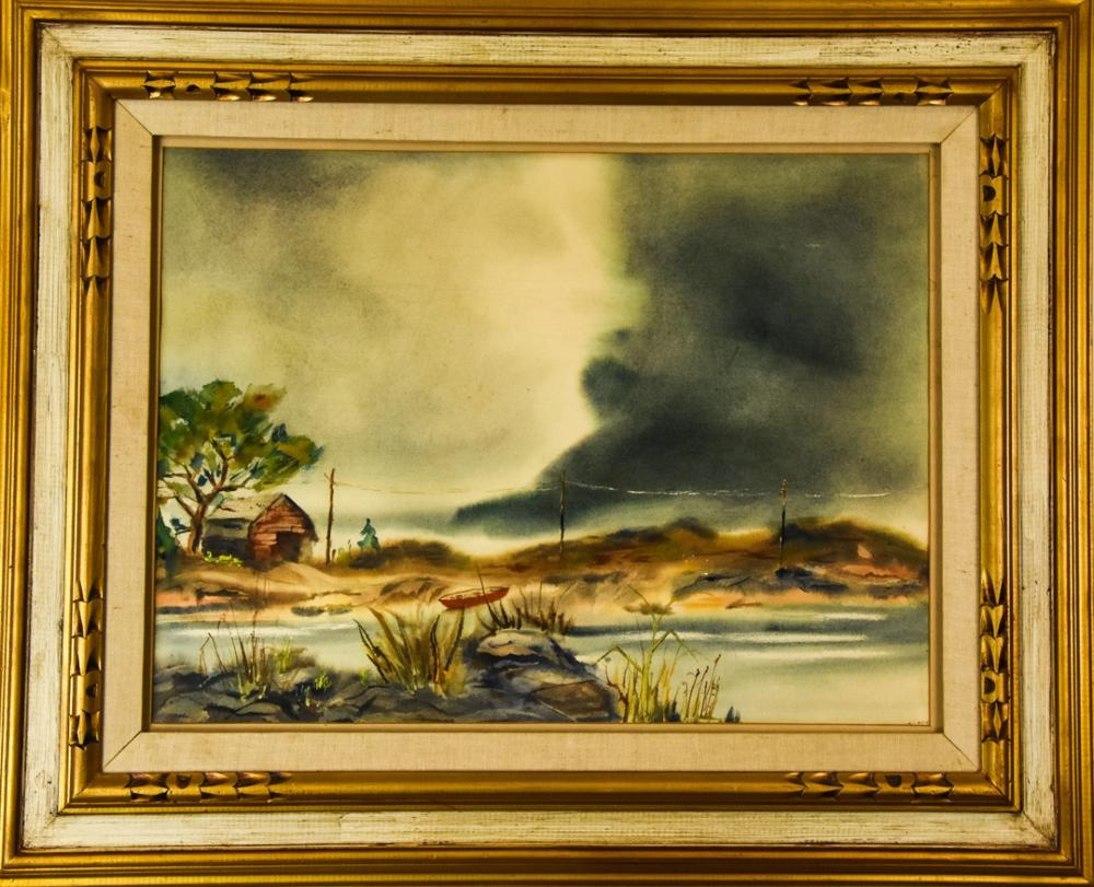 Mid Century Framed Seascape Watercolor