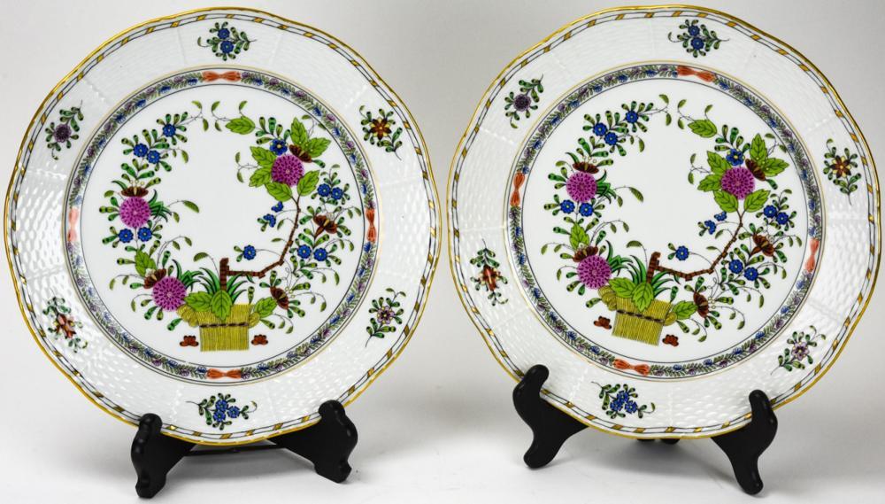 2 Herend Indian Basket Porcelain Plates