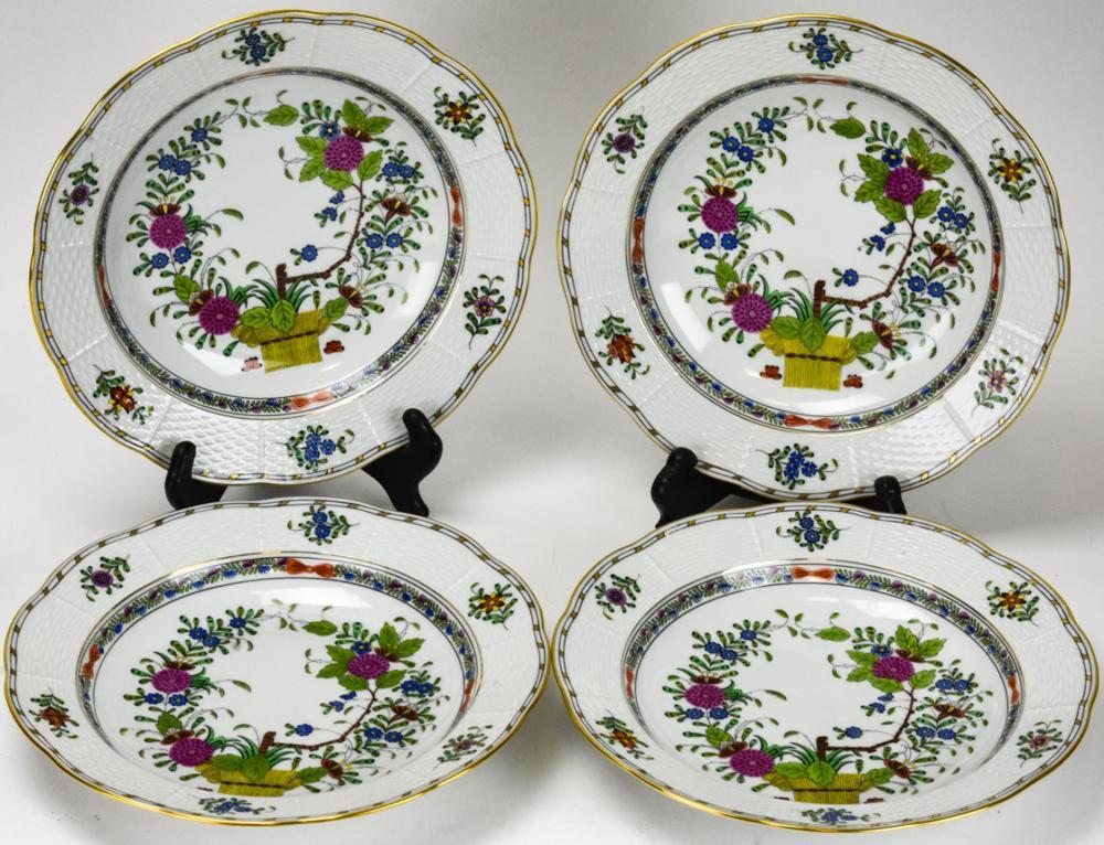 4 Herend Indian Basket Porcelain Bowls