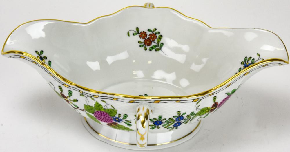 Herend Indian Basket Porcelain Gravy Boat