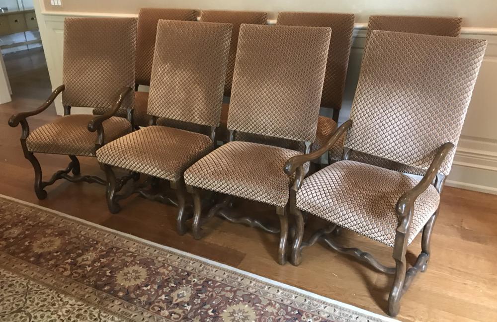 8 Dennis & Leen Custom Upholstered Dining Chairs
