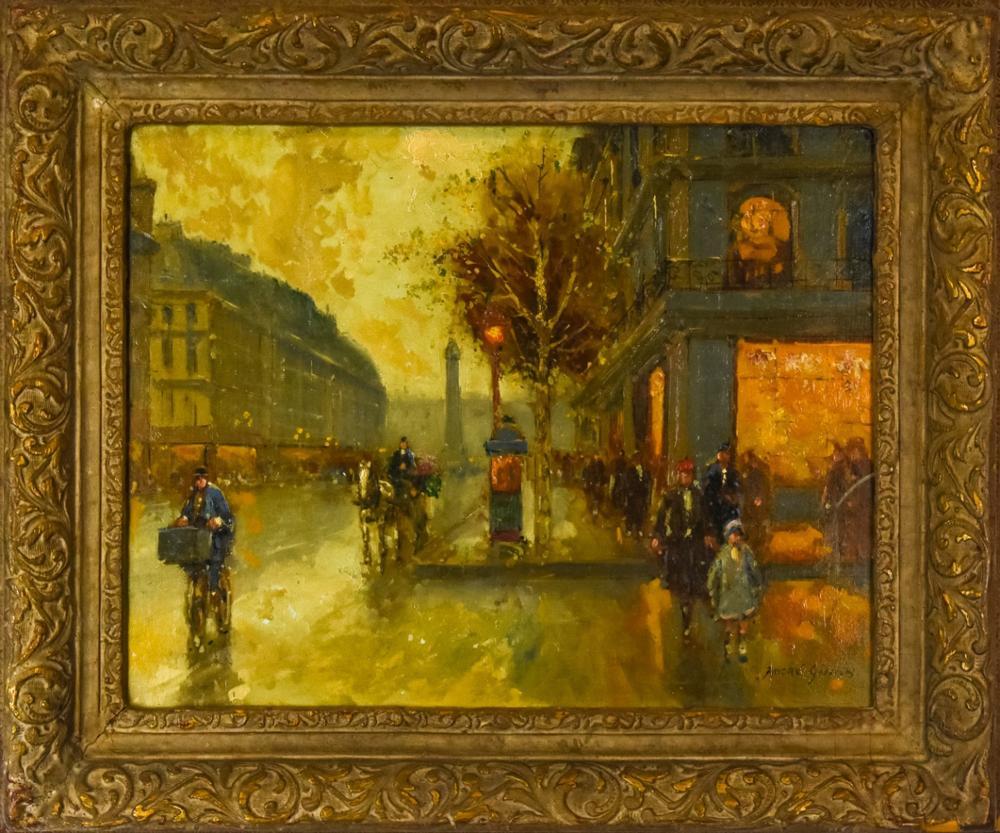 Andre Gisson Paris Street Scene Oil Painting
