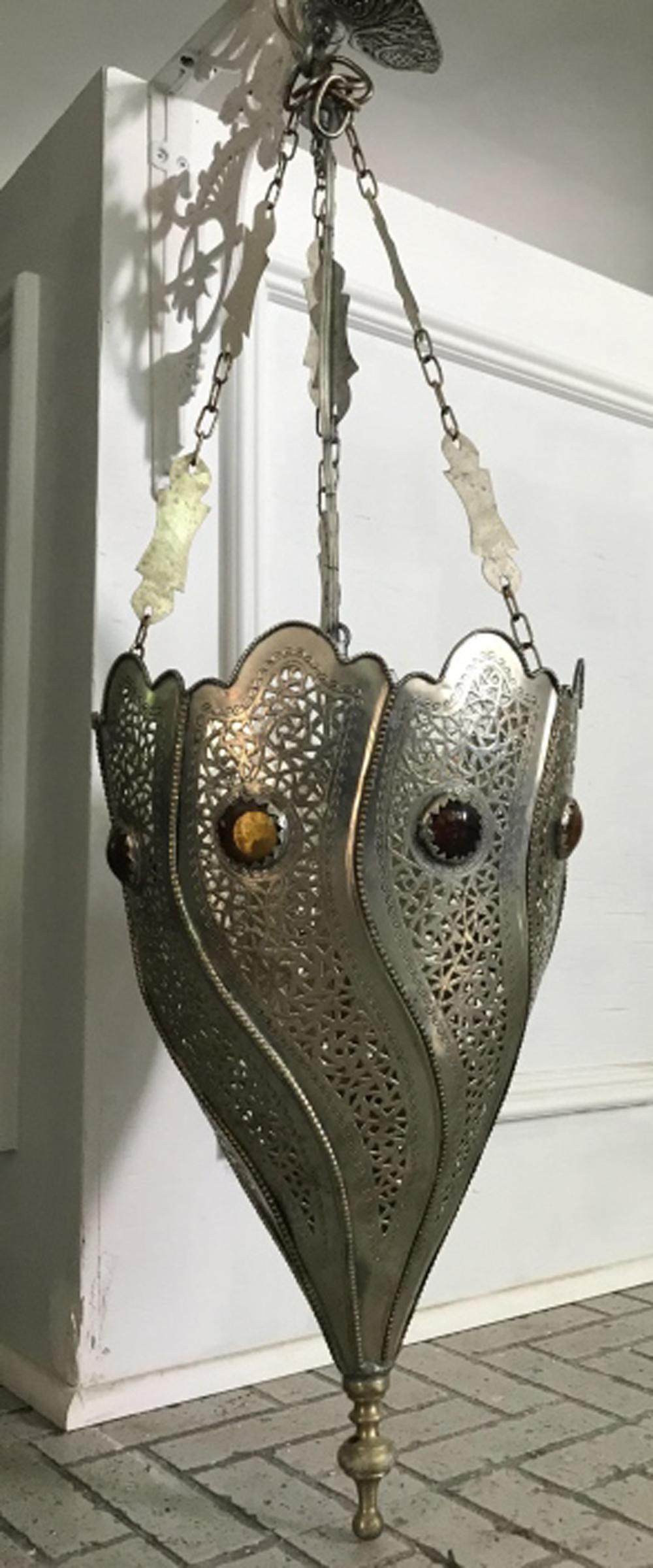 Moroccan Pierced & Jeweled Metal Chandelier