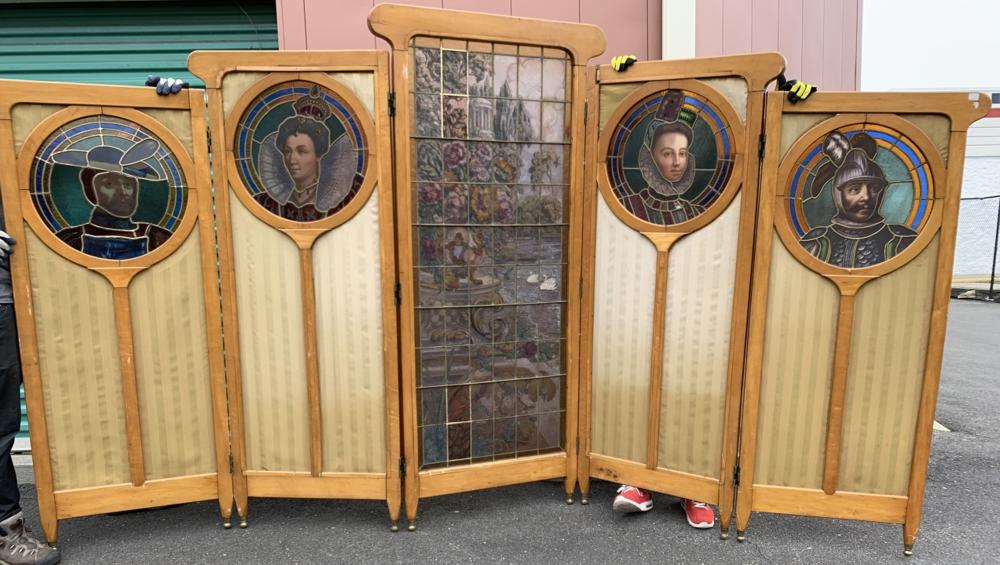 Antique French Stained Glass & Silk 5 Panel Screen