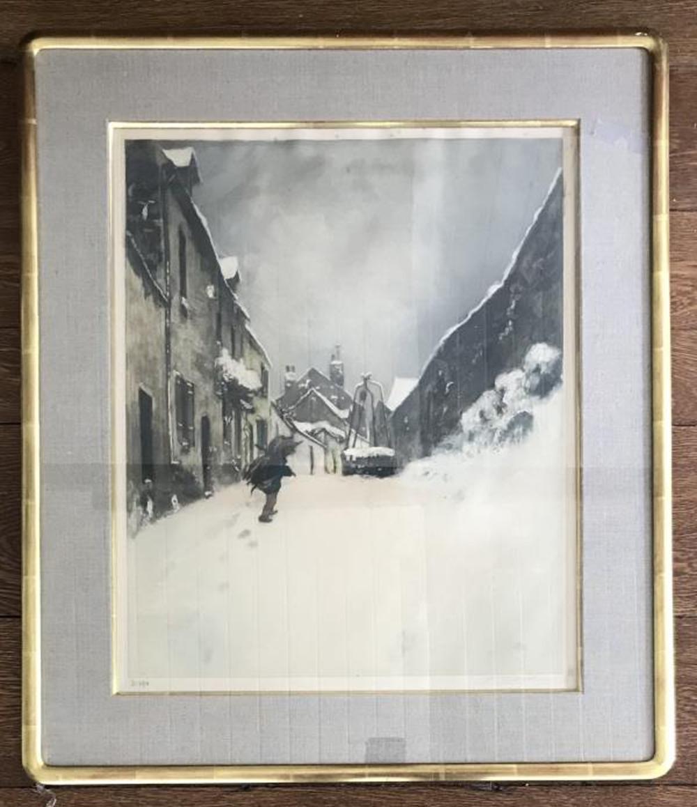 Antique Signed & Framed European Winter Engraving