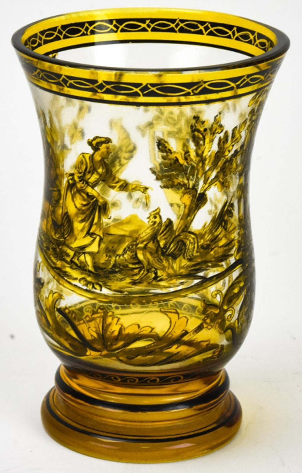 Antique 19th C French Hand Painted Glass Beaker