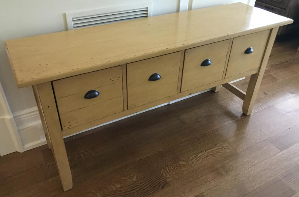 Contemporary Painted Console Cabinet w Drawers