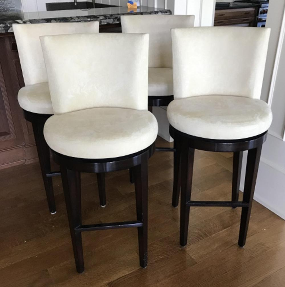 Four Contemporary Suede Bar Stools by A Rudin
