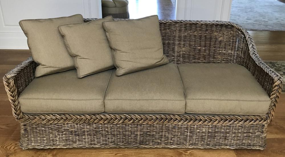 Contemporary Pierce Martin Wicker Sofa w Cushions