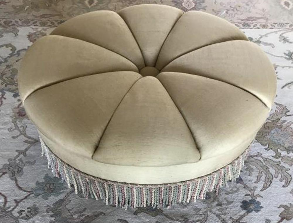 Contemporary Edward Ferrell Silk Tufted Ottoman