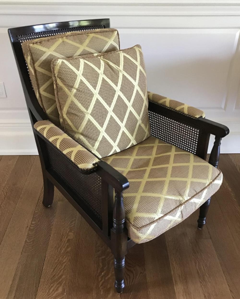 Contemporary Custom Upholstered & Caned Armchair