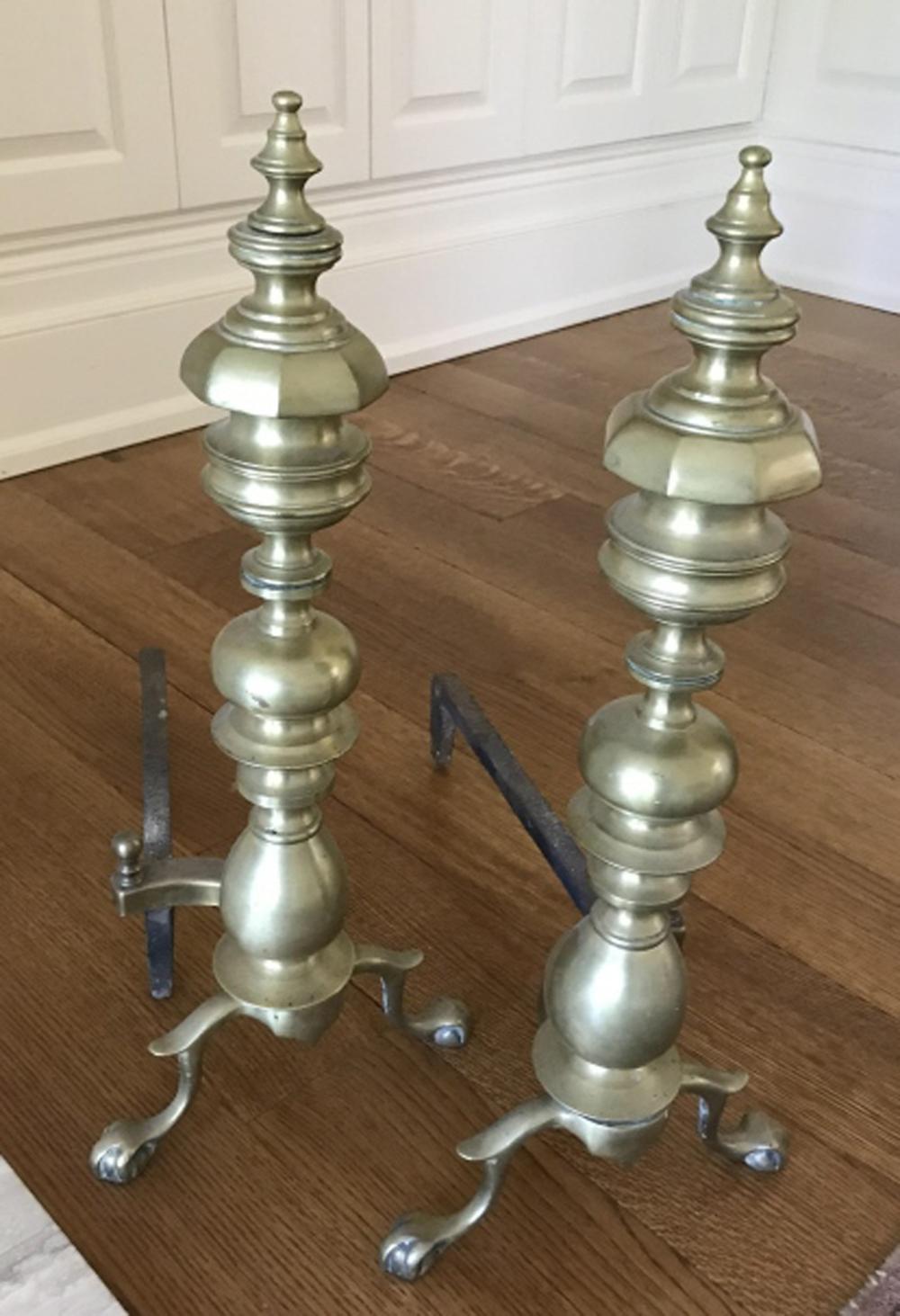 Gilt Brass English Regency Style Fireplace Andiron