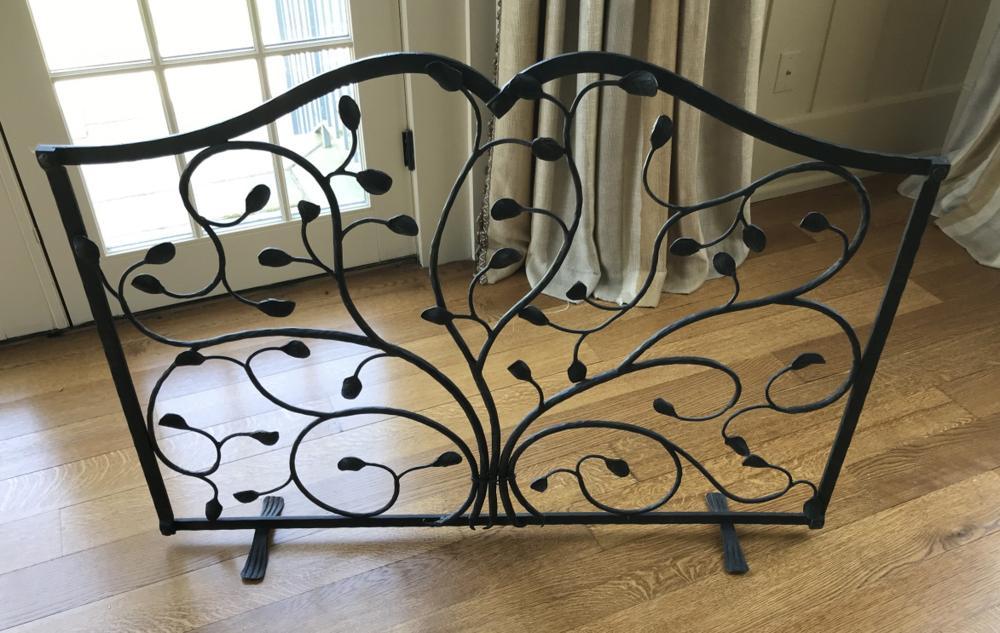 Wrought Iron Twig & Leaf Motif Fireplace Screen