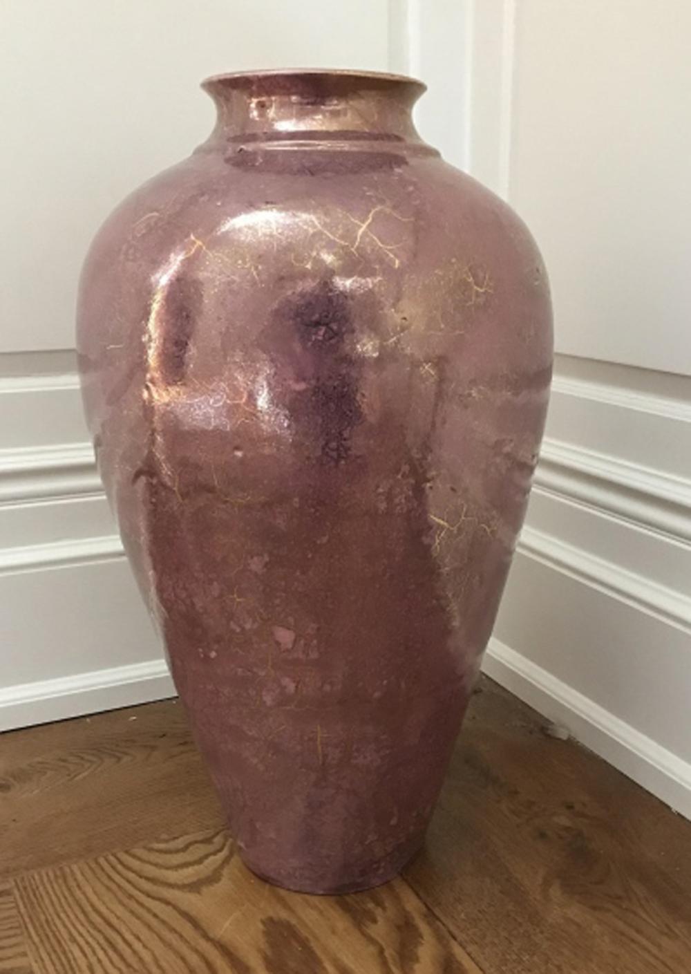 Large Contemporary Art Pottery Metallic Vase