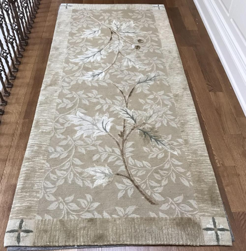 Contemporary Textured Botanical Carpet Runner