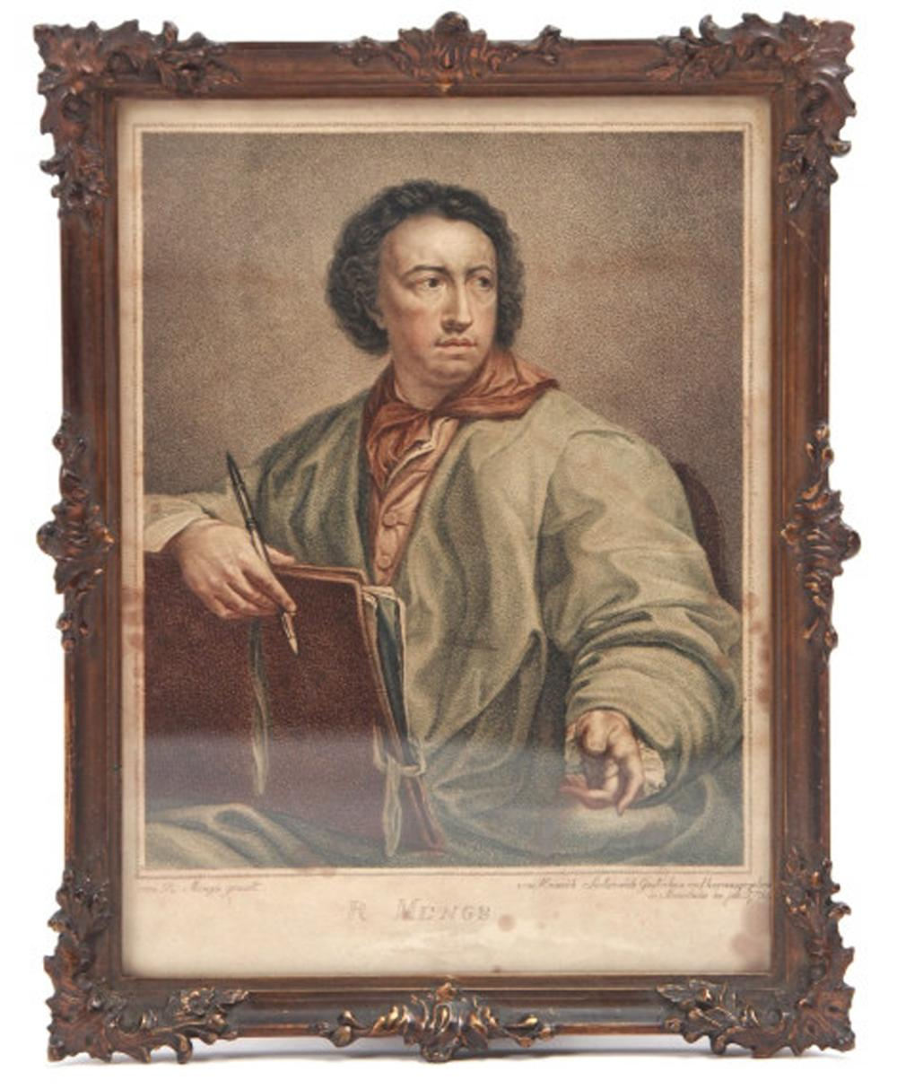 Antique c 1784 Engraving of R Mengs w Ornate Frame