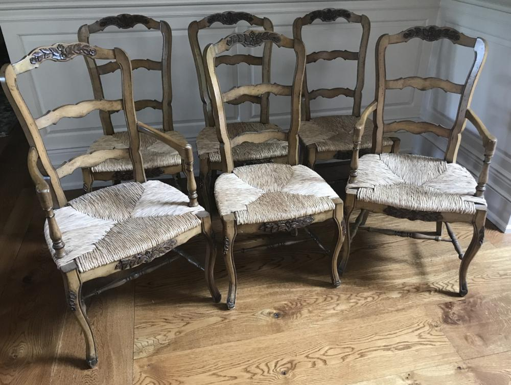 Set of Six French Provencal Dining Room Chairs