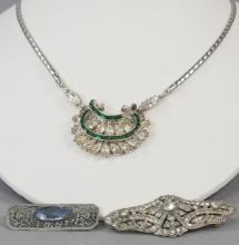 Vintage Costume Rhinestone Brooches & Necklace