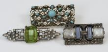 3 Antique Art Deco Costume Jewelry Brooches