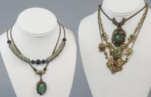 Five Antique & Vintage Costume Jewelry Necklaces