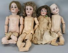 Four Antique German Bisque Head Dolls