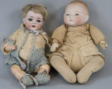 Two Antique German Bisque Head Baby Dolls