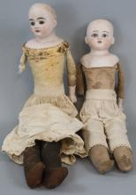 Two Antique German Turned Head Bisque Dolls