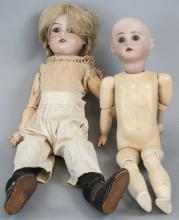 Two Antique Bisque Head German Dolls