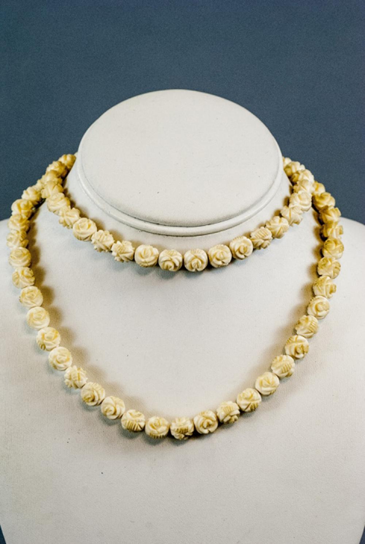 Chinese Jewelry Carved Bone Rose Quartz Enamel