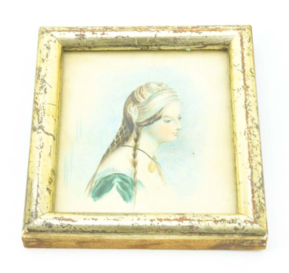 Antique 19th C Watercolor Portrait Miniature