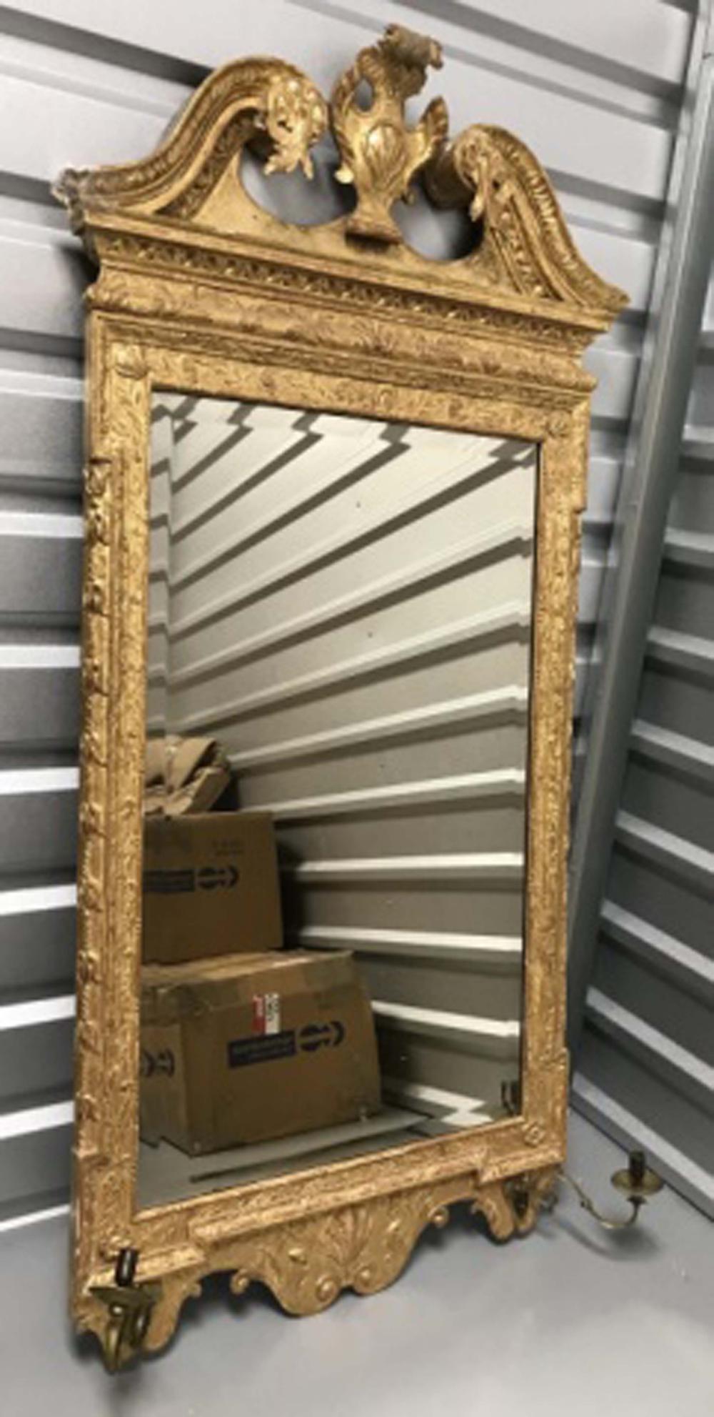 Antique 19th C Gilt Wood Wall Mirror w Sconces