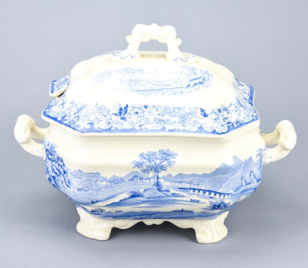 English Spode Blue & White Porcelain Tureen