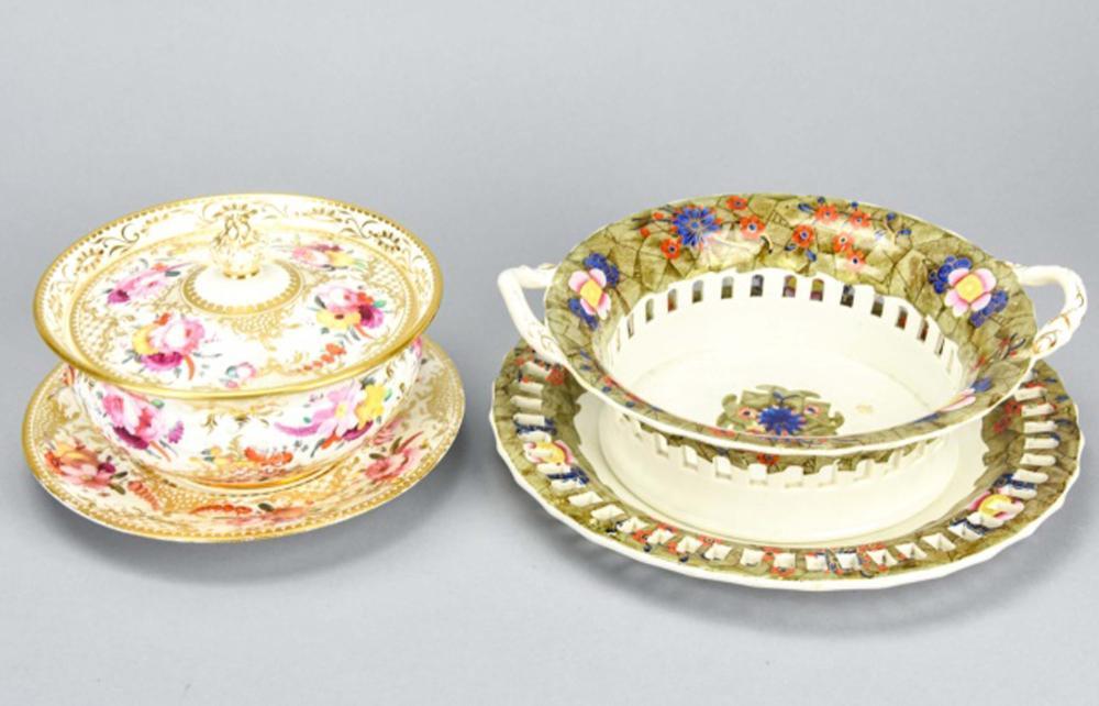 Pair Antique Porcelain Compotes Includes Spode