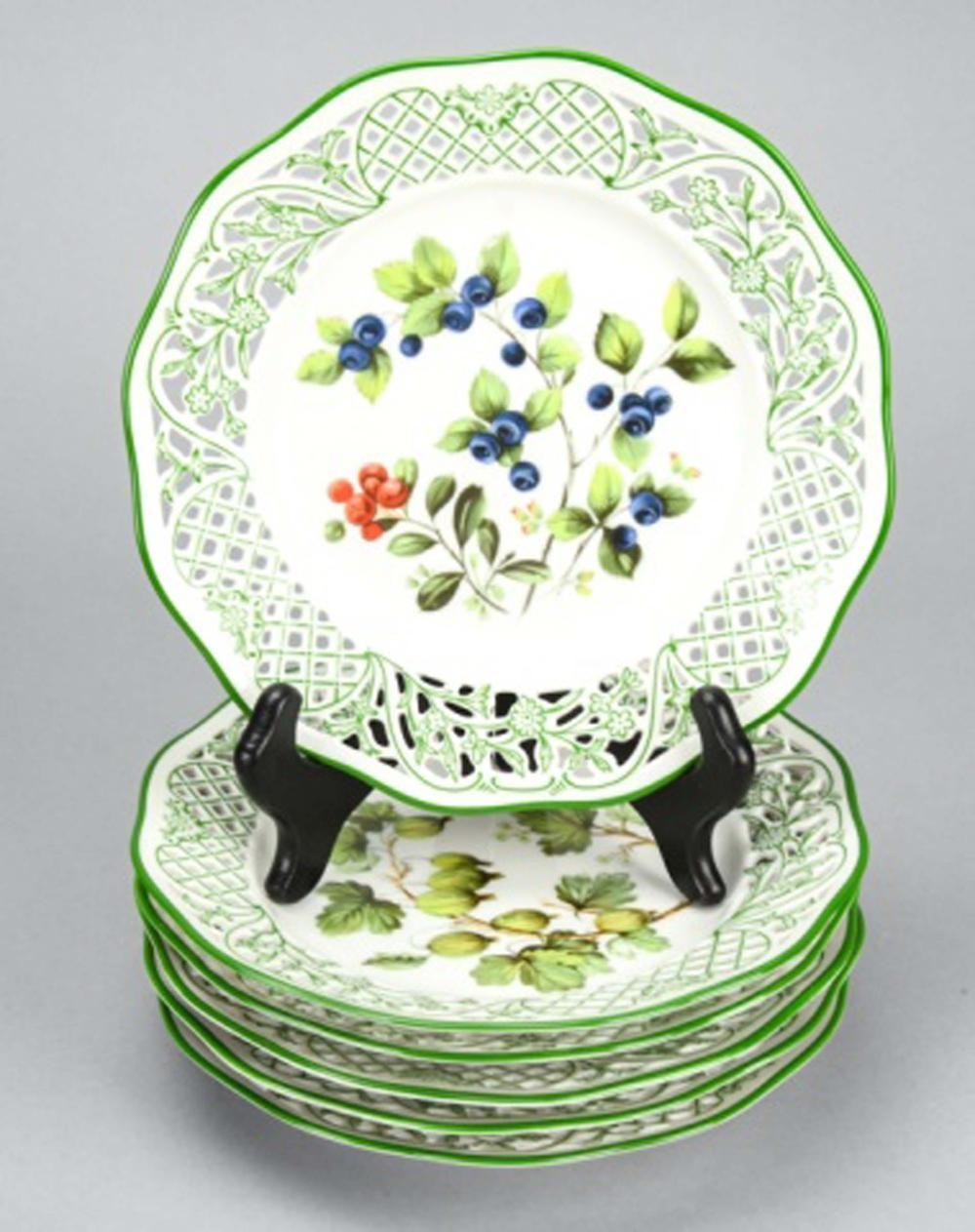 6 Schumann Germany Porcelain Pieced Fruit Plates